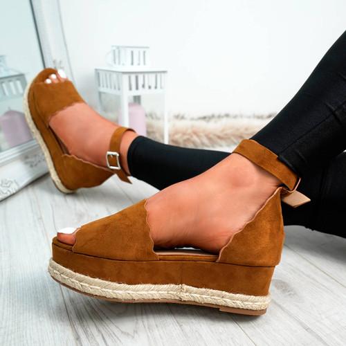 Mireya Camel Wedge Platform Sandals