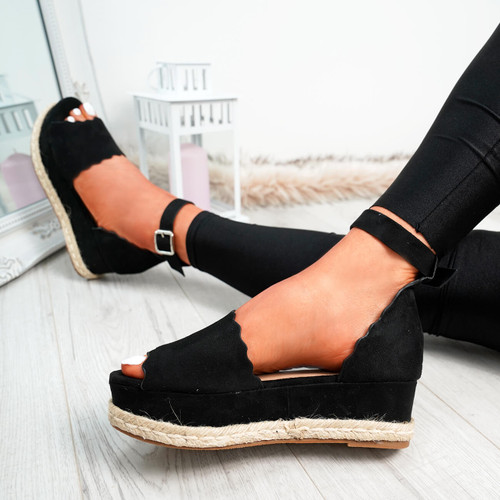 Mireya Black Wedge Platform Sandals