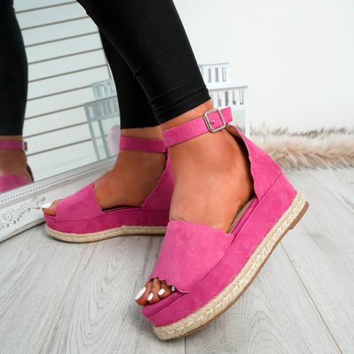 Mireya Fuchsia Wedge Platform Sandals