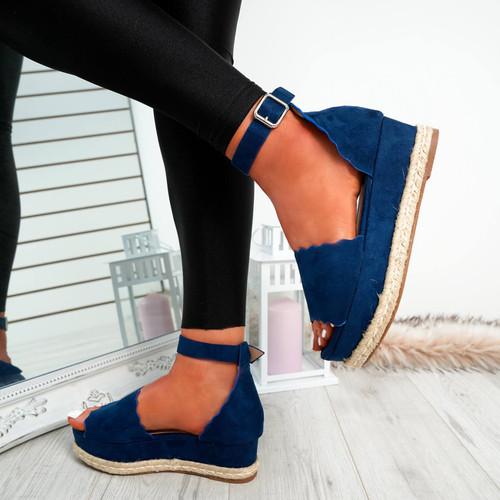 Mireya Navy Wedge Platform Sandals