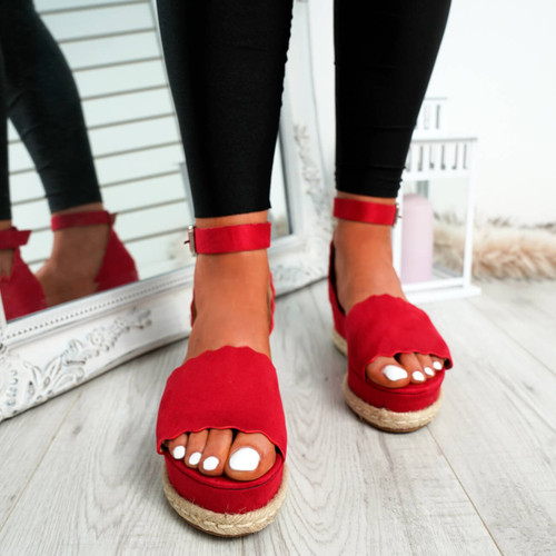 Mireya Red Wedge Platform Sandals