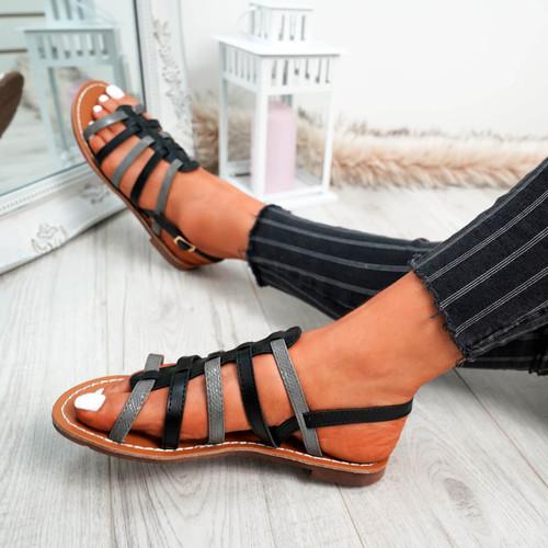 Azul Black Flat Sandals