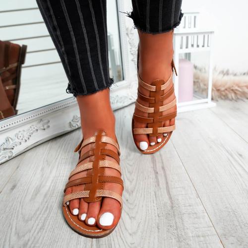 Azul Camel Flat Sandals