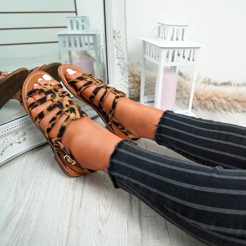 Azul Leopard Flat Sandals