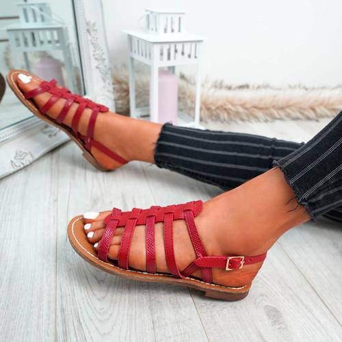 Azul Red Flat Sandals