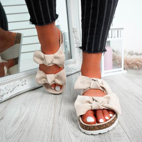 Zion Beige Double Bow Flat Sandals