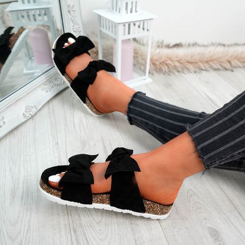 Zion Black Double Bow Flat Sandals