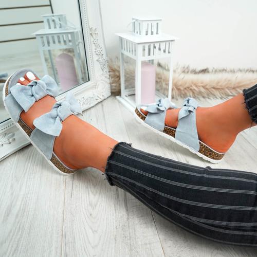Zion Blue Double Bow Flat Sandals