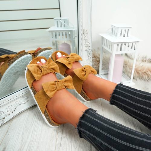 Zion Camel Double Bow Flat Sandals