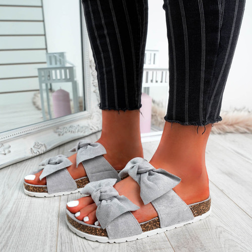 Zion Grey Double Bow Flat Sandals