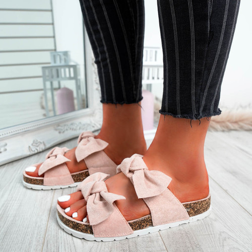 Zion Pink Double Bow Flat Sandals