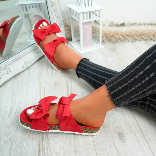 Zion Red Double Bow Flat Sandals