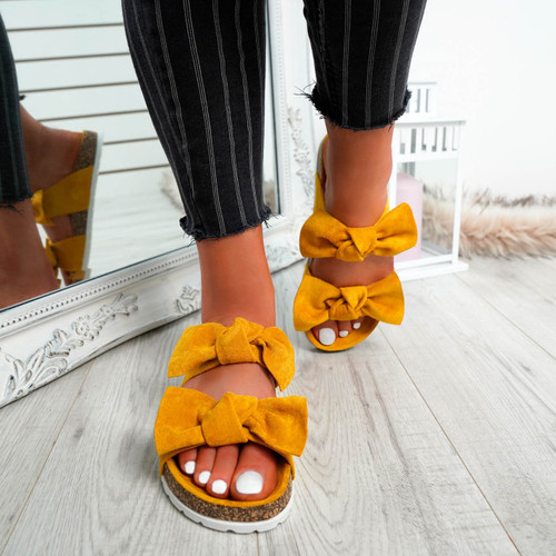 Zion Yellow Double Bow Flat Sandals