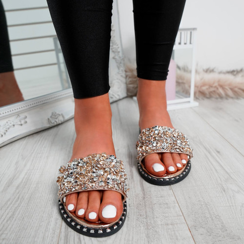 Obin Rose Gold Rhinestone Sliders