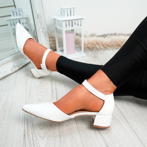 Yeto White Block Heel Pumps