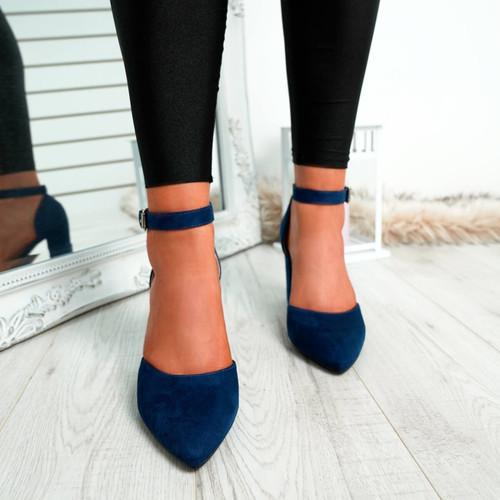Legga Dark Blue Block Heel Pumps