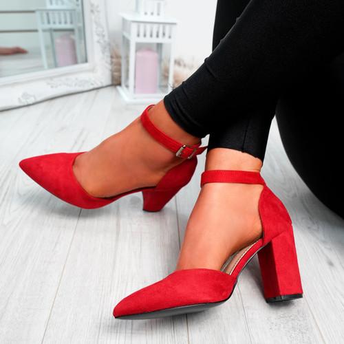 Legga Red Block Heel Pumps
