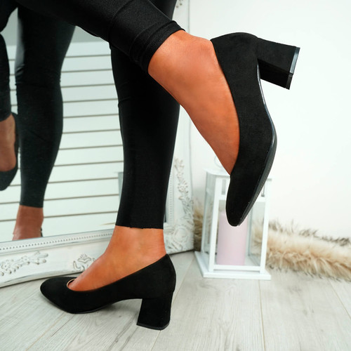 Petra Black Slip On Court Pumps