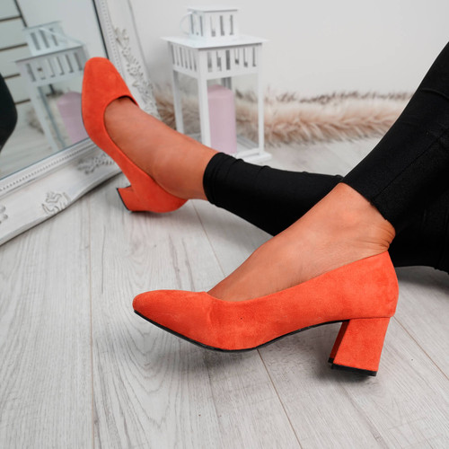 Petra Orange Slip On Court Pumps
