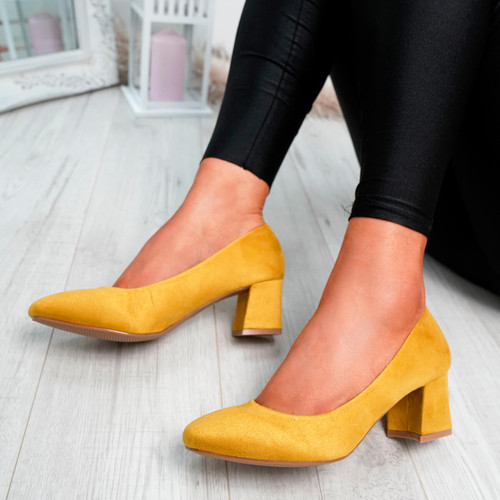 Petra Yellow Slip On Court Pumps