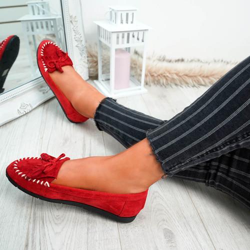 Inova Red Fringe Ballerinas