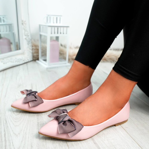 Cofy Pink Bow Pointed Ballerinas