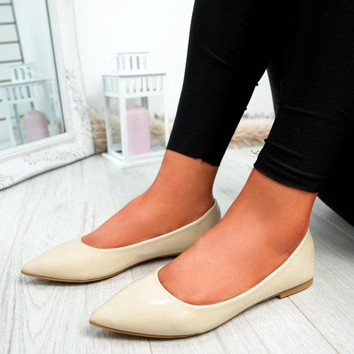 Ify Beige Pointed Ballerinas