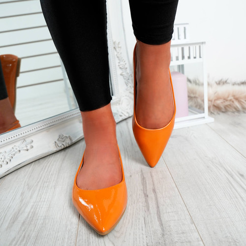 Ify Orange Pointed Ballerinas