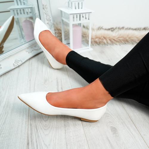 Ify White Pointed Ballerinas