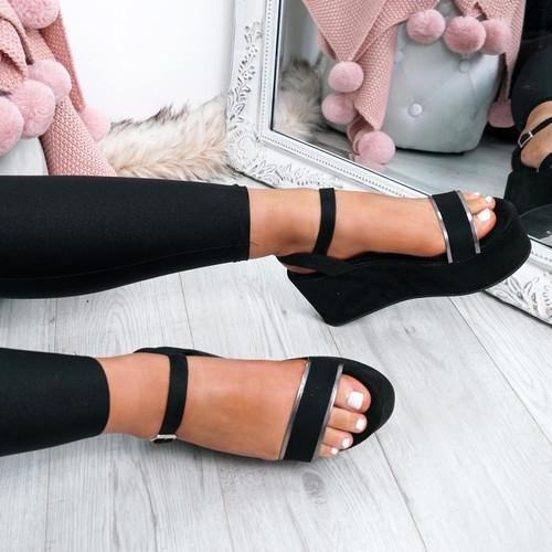 Gona Black Ankle Strap Flatform Sandals