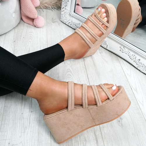 Tonni Beige Slip On Flatform Sandals