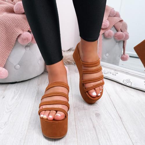 Tonni Camel Slip On Flatform Sandals