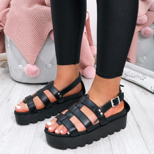 Rina Black Gladiator Flat Sandals