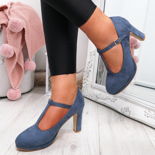 Benna Blue T Strap Pumps
