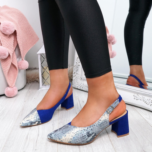 Caffo Blue Snake Pointed Pumps