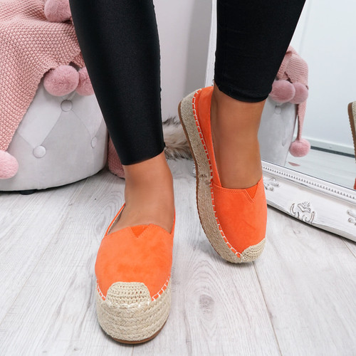 Fedy Orange Slip On Espadrille Ballerinas