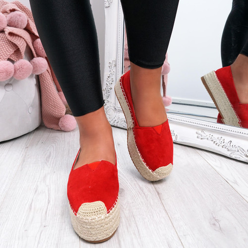 Fedy Red Slip On Espadrille Ballerinas