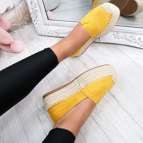Fedy Yellow Slip On Espadrille Ballerinas