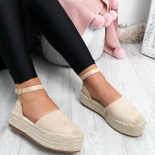 Elem Beige Ankle Strap Espadrille Ballerinas