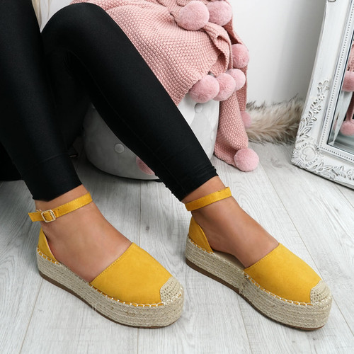 Elem Yellow Ankle Strap Espadrille Ballerinas