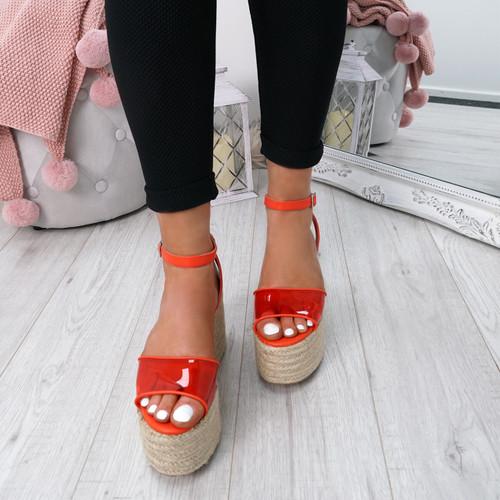 Nosa Orange Platform Sandals
