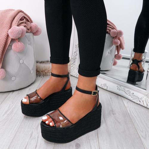 9b02ddd226b96 Womens Ladies Ankle Strap Platform Flatform Wedge High Heel Sandals ...