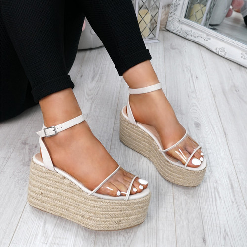 Nosa White Platform Sandals