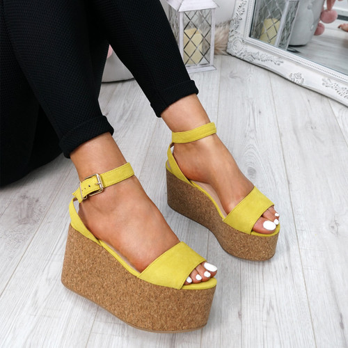Vaya Yellow Wedge Sandals