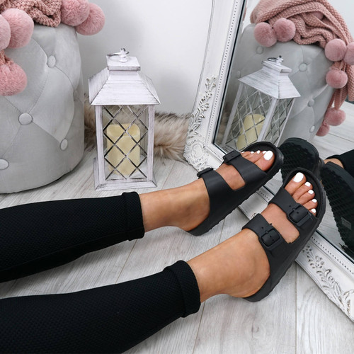 Eva Black Flat Sandals