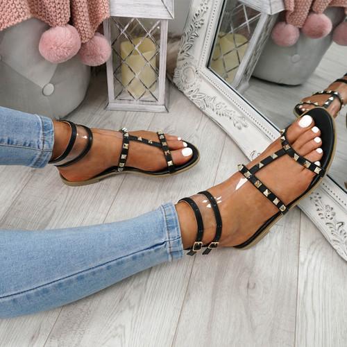 Glanna Black Rock Stud Flat Sandals