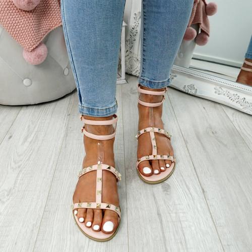 Glanna Pink Rock Stud Flat Sandals