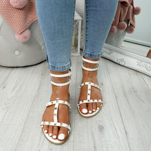 womens white rock studs sandals t-strap size uk 3 4 5 6 7 8