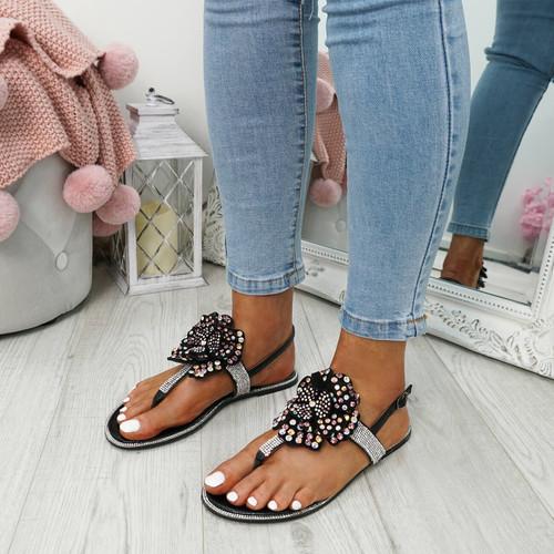 Zenda Black Flower Stud Flat Sandals