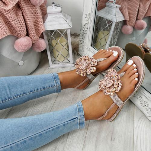 Zenda Champagne Flower Stud Flat Sandals